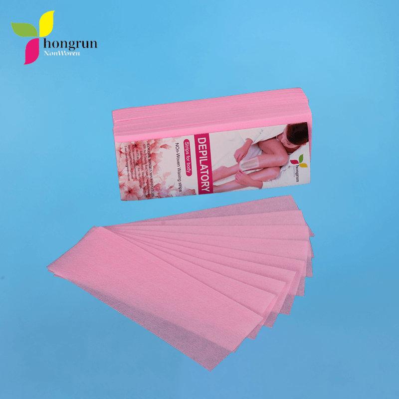 无纺布100%聚酯纤维一次性脱毛粉红色脱毛蜡条